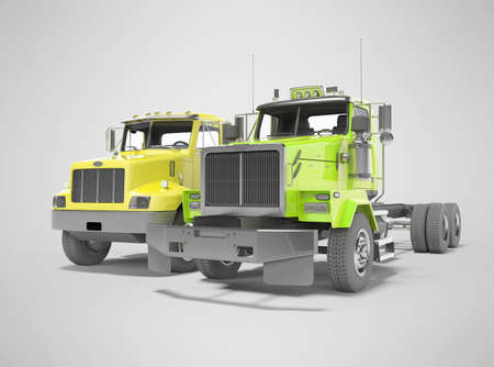 3d render group yellow and green dump truck isolated on gray background with shadow