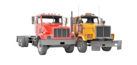 3d render group red and orange dump truck isolated on white background no shadow