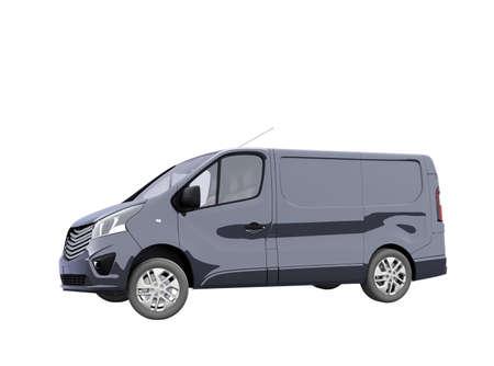 3d render blue minibus illustration on white background no shadow Imagens