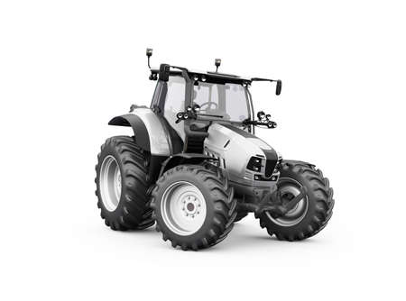 3d render gray tractor illustration on white background with shadow