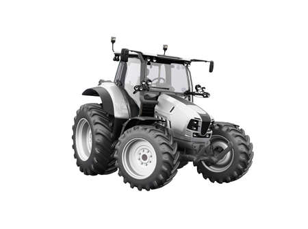 3d render gray tractor illustration on white background no shadow Imagens