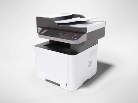 3d render printer multifunctional device on gray background with shadow