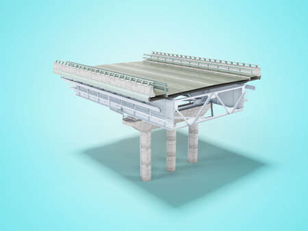 3d render overhead motorway isolated on blue background with shadow