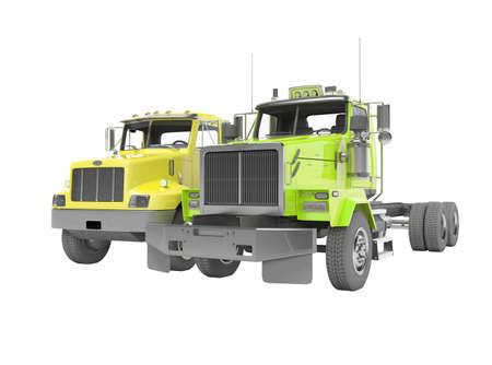 3d render group yellow and green dump truck isolated on white background no shadow Imagens