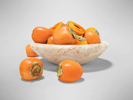 3d render persimmon illustration on gray background with shadow