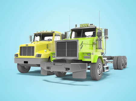 3d render group yellow and green dump truck isolated on blue background with shadow