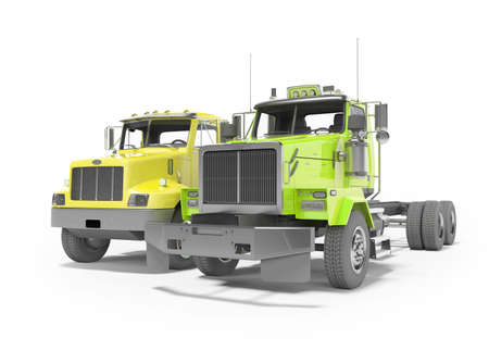 3d render group yellow and green dump truck isolated on white background with shadow Imagens