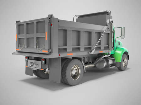 3d render green dump truck with hydraulic opening trailer rear view on gray background with shadow