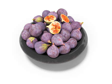 3d rendering ripe figs on plate on white background with shadow Imagens