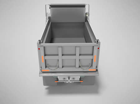 3d render dump truck with hydraulic opening trailer back view isolated on gray background with shadow