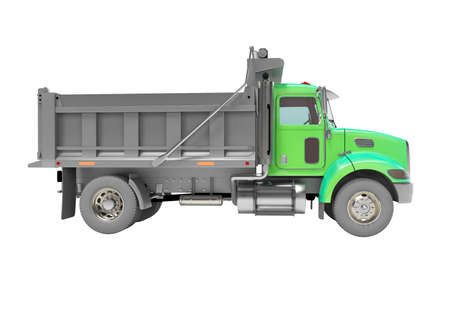 3d render of green dump truck with trailer with automatic closing side view on white background no shadow