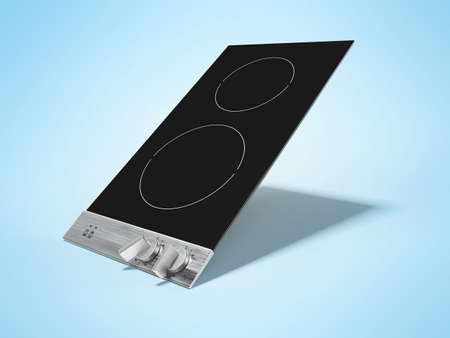 3d render of an electric stove on two burners induction illustration on blue background with shadow Imagens