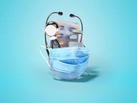 3d rendering group set vaccine medical mask stethoscope on blue background with shadow Imagens