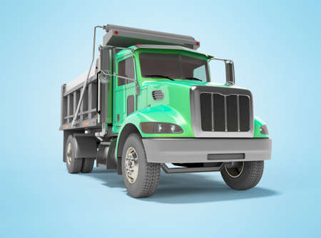 3d render green dump truck with automatic closing trailer isolated on blue background with shadow