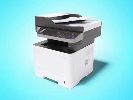3d render printer multifunctional device on blue background with shadow Imagens