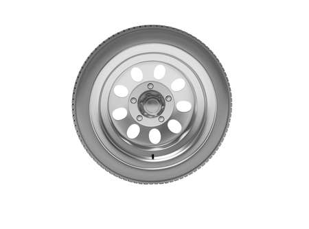 3d rendering car wheel isolated on white background no shadow Imagens
