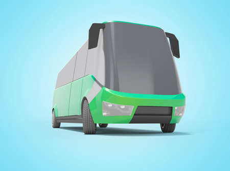 3d rendering electric car minibus green front view isolated on blue background with shadow Imagens