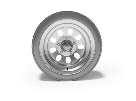 3d rendering car wheel isolated on white background with shadow Imagens