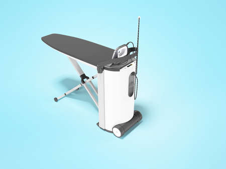3d render steam ironing system illustration on blue background with shadow
