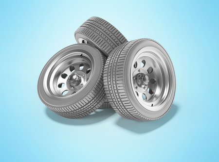 3d rendering group car wheels perspective isolated on blue background with shadow