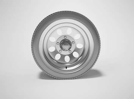 3d rendering car wheel isolated on gray background with shadow Imagens