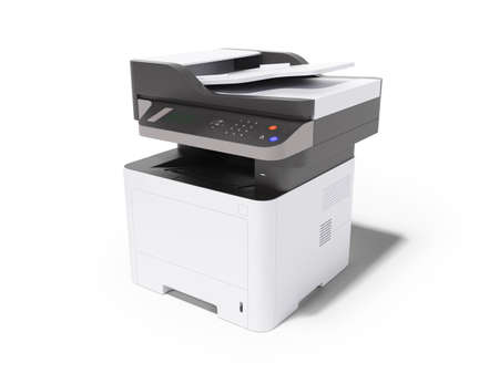 3d render printer multifunctional device on white background with shadow Imagens