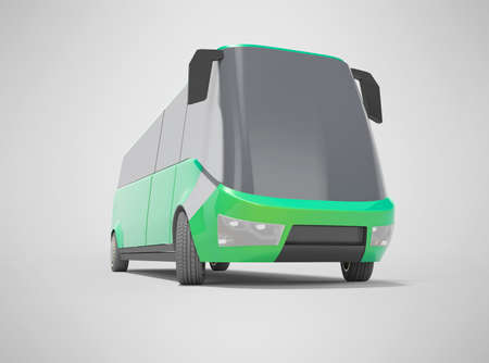 3d rendering electric car minibus green front view isolated on gray background with shadow