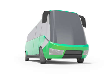 3d rendering electric car minibus green front view isolated on white background with shadow