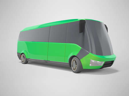 3d rendering electric car minibus green on gray background with shadow