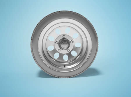 3d rendering car wheel isolated on blue background with shadow