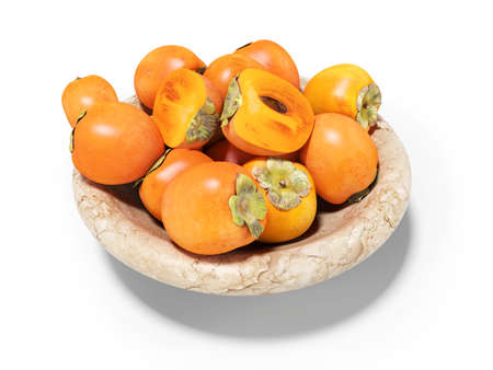 3d rendering of persimmon on plate on white background with shadow