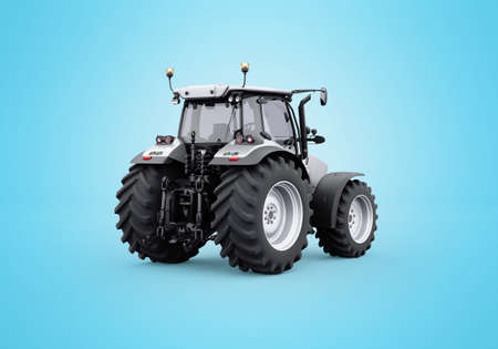 3d rendering gray tractor isolated on blue background with shadow