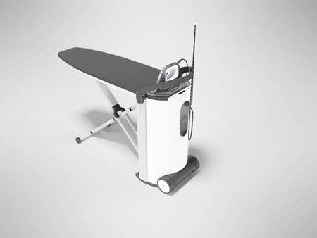 3d render steam ironing system illustration on gray background with shadow