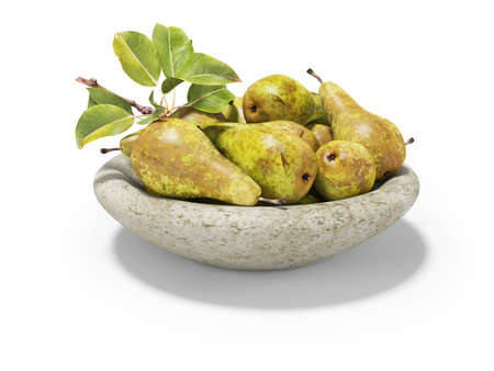 3d rendering ripe set of pears on plate on white background with shadow