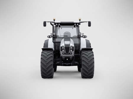 3d rendering tractor front view isolated on gray background with shadow
