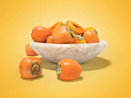 3d render persimmon illustration on orange background with shadowc