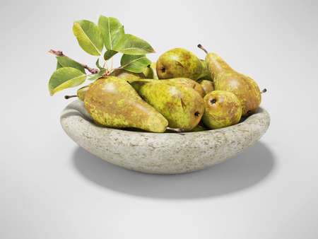 3d rendering ripe set of pears on plate on gray background with shadow