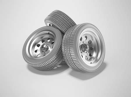 3d rendering group car wheels perspective isolated on gray background with shadow