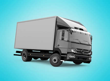 3d render truck up to five tons illustration on blue background with shadow