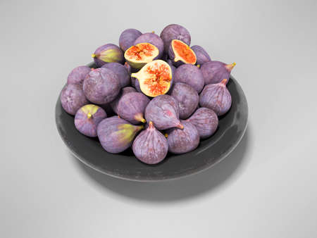 3d rendering ripe figs on plate on gray background with shadow