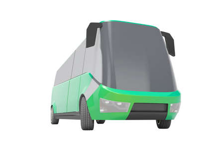 3d rendering electric car minibus green front view isolated on white background no shadow Imagens