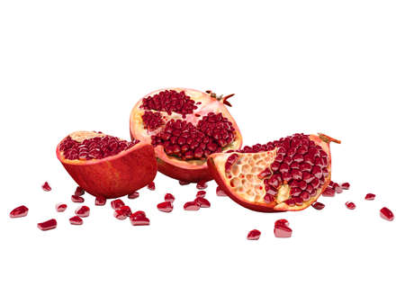 3d rendering ripe peeled pomegranate on white background no shadow Imagens
