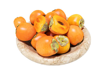 3d rendering of persimmon on plate on white background no shadow Imagens