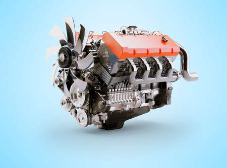 3d rendering internal combustion engine on blue background with shadow Imagens