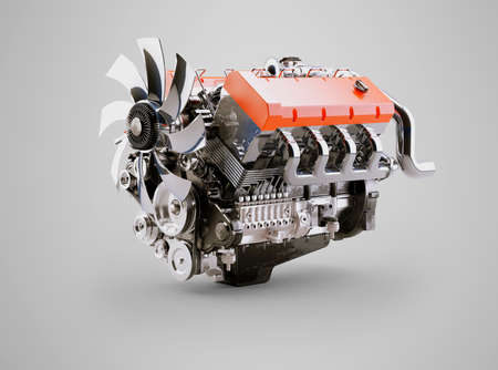 3d rendering internal combustion engine on gray background with shadow Imagens