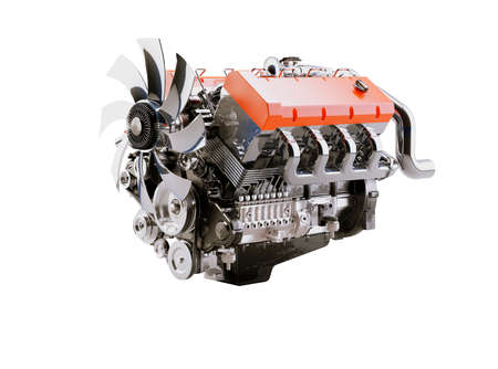 3d rendering internal combustion engine on white background no shadow