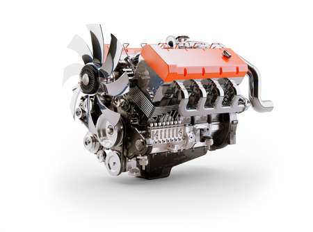 3d rendering internal combustion engine on white background with shadow