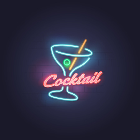 Cocktail neon sign, bright signboard, light banner. Cocktail emblem  イラスト・ベクター素材