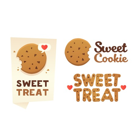 chocolate cookie: Set confectionery banners, labels, Sweet Treat. Illustration