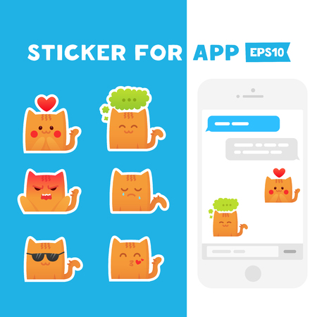 mobile app: Sticker for app. Mobile messages. Cute cats